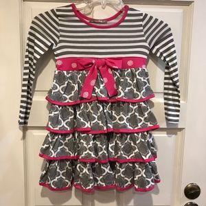 Jelly the Pug Girl 6X Gray White Pink Stripe Dress
